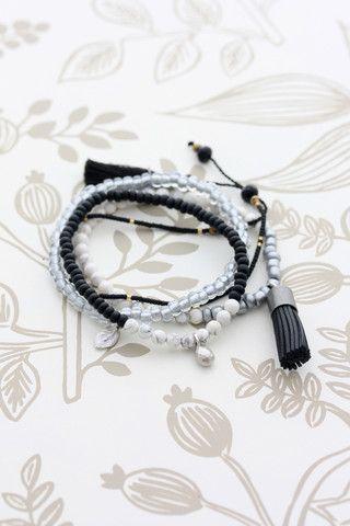 Cloud Nine Creative - Tassel Bracelet Set - Black
