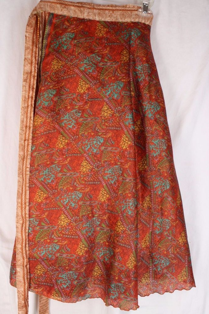 Vintage Silk Blend Magic Reversible Sarong Pareo Wrap Skirt Dress India OS #Unbranded #WrapSarong