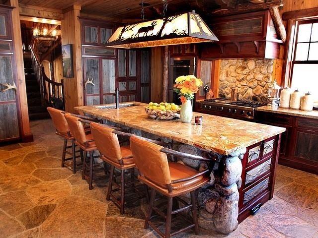Rustic Stone kitchen Island/Bar | Dream Home | Pinterest
