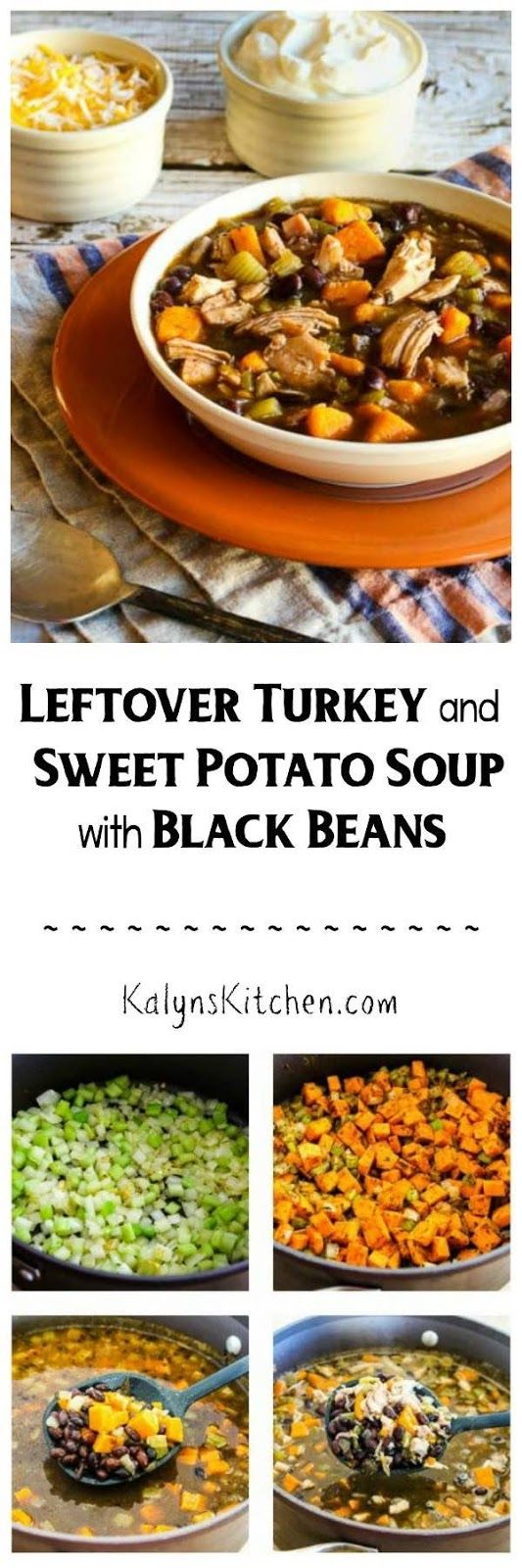 Leftover Turkey and Sweet Potato Soup with Black Beans has a touch of lime added at the end for a mind-blowingly good soup! Use chicken if you don't have any leftover turkey.  [found on KalynsKitchen.com]