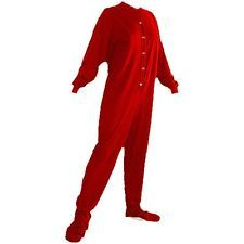 Big Men's Footed Pajamas | Big Feet PJs Red Jersey Knit Footed Pajamas for Women and Men Small
