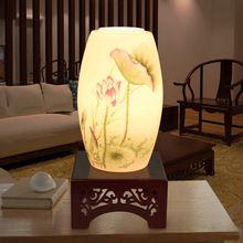 Chinese keramische tafellamp mooie lotus pioen leeslamp slaapkamer bed bruiloft verlichting(China (Mainland))
