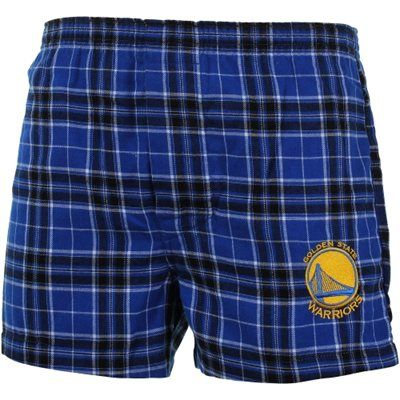 Golden State Warriors Roster Flannel Boxer Shorts - Navy Blue
