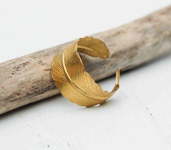Golden FEATHER Ring Romantic Vintage Style Leaf Autumn Bird via Etsy