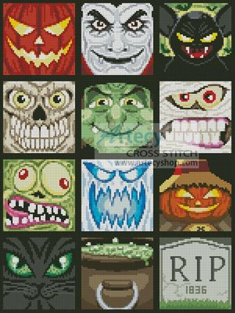Artecy Cross Stitch. Halloween Minis Cross Stitch Pattern to print online.Halloween - Love This!