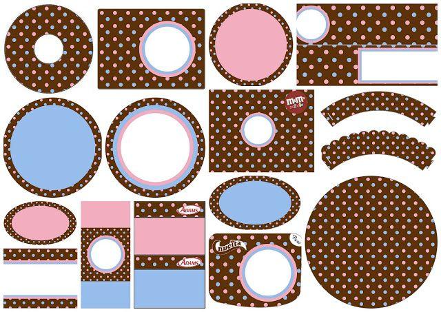 Lunares Celeste y Rosa en Fondo Chocolate: Etiquetas para Candy Buffet de 15 Años para Imprimir Gratis.