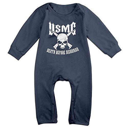 ElinaDesdemona USMC Unisex Baby Boys Girls Cotton Jumpsuit Long Sleeve Bodysuit Romper