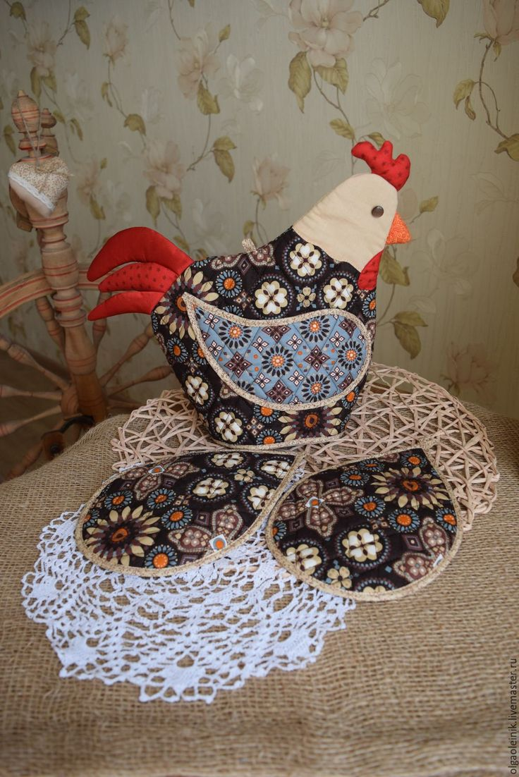 Купить Грелка на чайник и две прихватки - коричневый, петух, символ 2017 года, курица, петухи