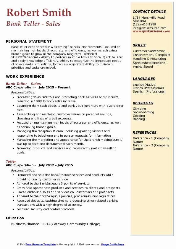 Bank Teller Resume Objective With No Experience Luxury Bank Teller Resume Samples In 2020 Resume Examples Job Resume Examples Good Resume Examples