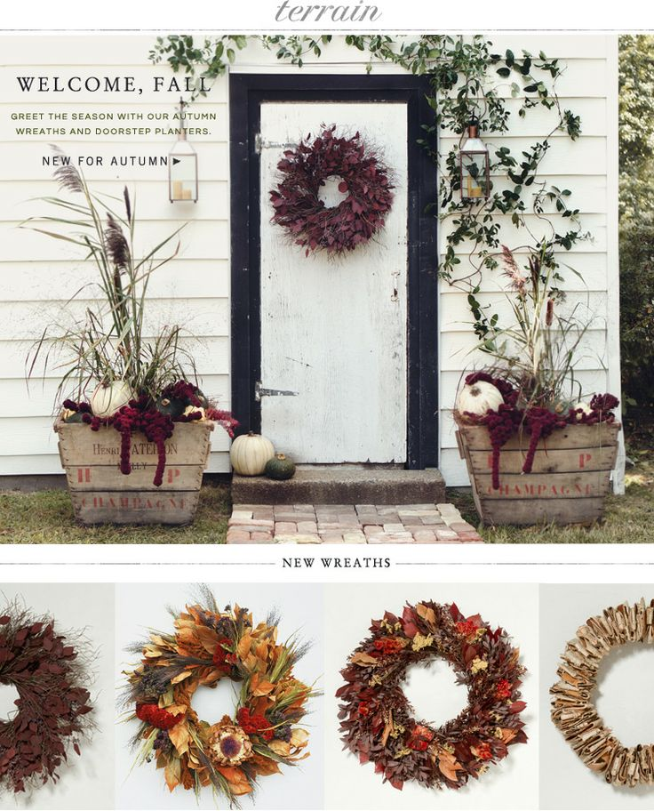 Welcome Fall: Greet the season with our autumn wreaths and doorstep planters at Terrain.