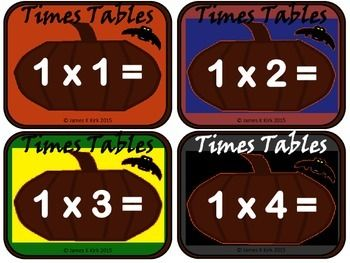 Halloween Timetables flash cards - 156 Unique Halloween Times Tables flash cards x 2 (1 with answers and one without) 312 cards in total. - 78 Pages  - 12 Color / Colour Styles - Print off each of the two sets and laminate to use for math stations if required