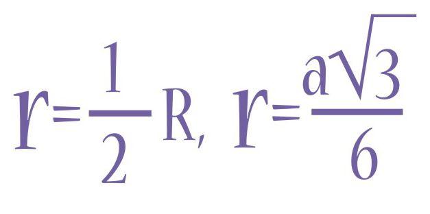 Радиус вписанной окружности, формула