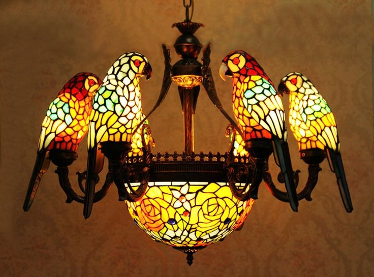 Makernier Vintage Tiffany Style Stained Glass 6 Arms Parrots Chandelier with Inverted Ceiling Pendant Fixture - - Amazon.com