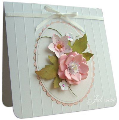 I like that embossing technique: Hands Made Cards, Gorgeous Flowers, Beautiful Cards, Lifelik Flowers, Oval Frames, Paper Flowers, Gorgeous Cards, Nice Cards, Adorable Hands