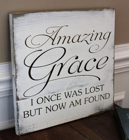 Amazing Grace Wall Art, Hand Painted Wood Sign, Gift For Christian, Rustic Home Decor – Shannan