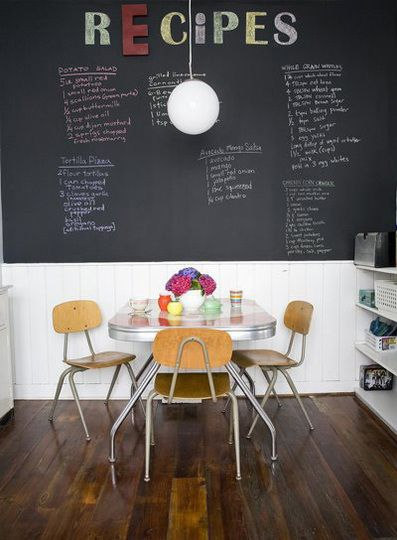 More chalkboard, but love this dining area: Kitchens, Chalkboards, Ideas, Dining Room, Interior, Chalkboard Walls, Recipe, Chalk Board, Chalkboard Paint