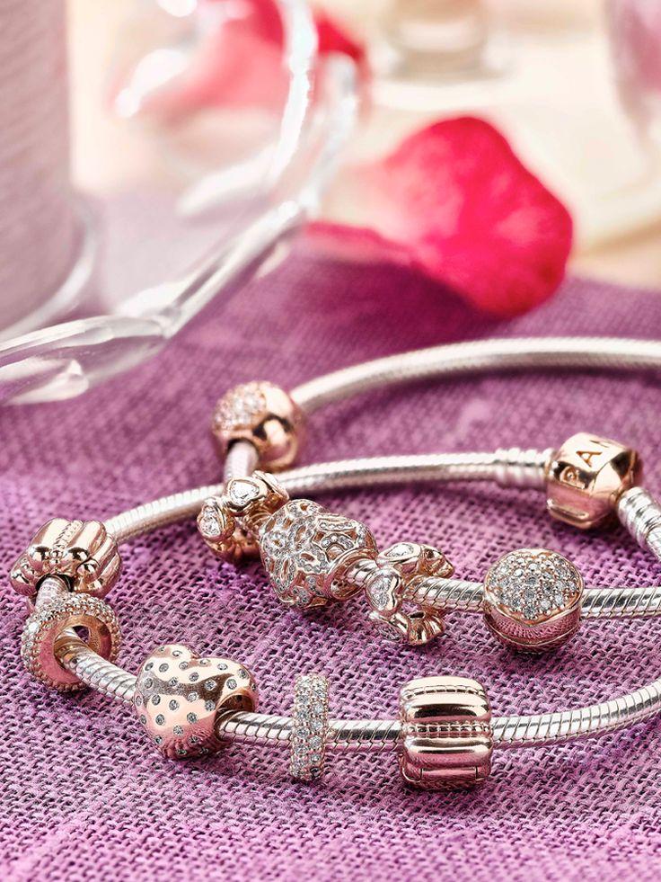 Bestselling PANDORA designs are now captured in the unique PANDORA Rose metal blend – luminous beauty expressed in pink. #PANDORArose #PANDORAbracelet