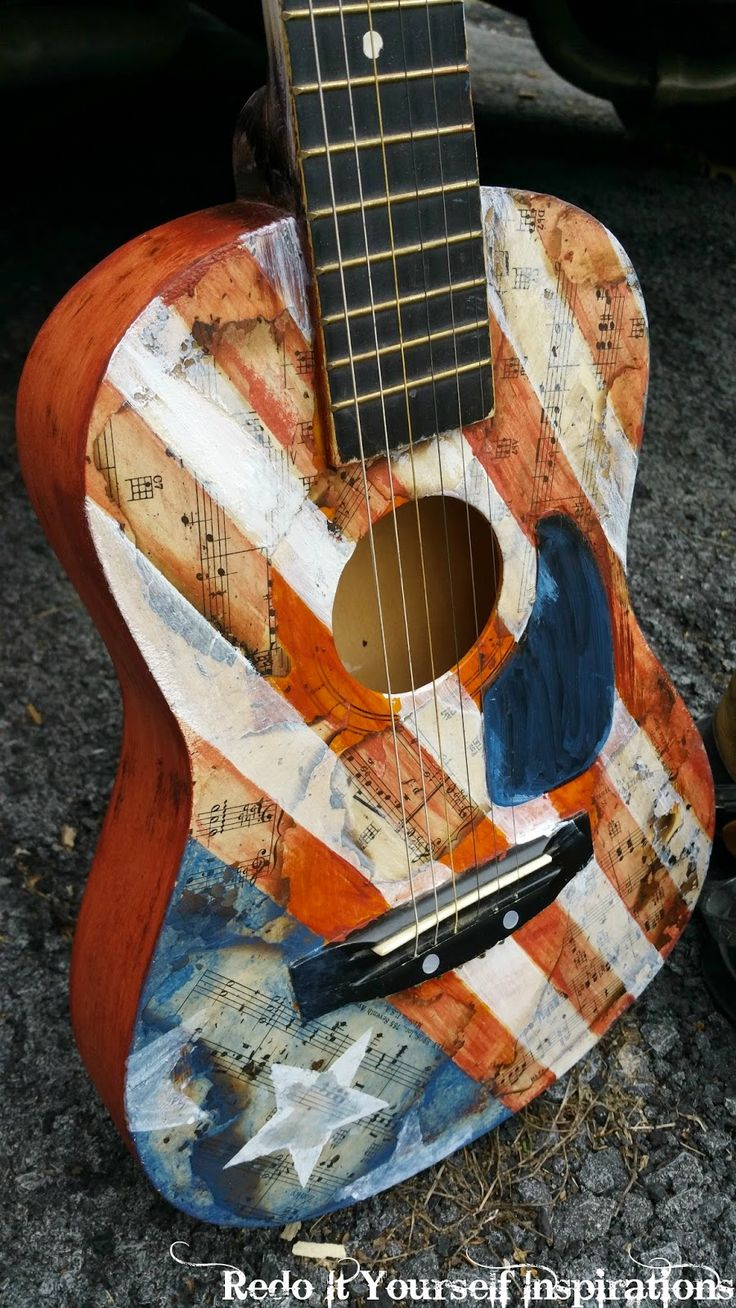 Painted Guitar: Americana Style
