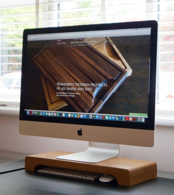 Looking for a nice addition to your computer desk? Check out our wooden iMac Stand at makemesomethingspecial.com