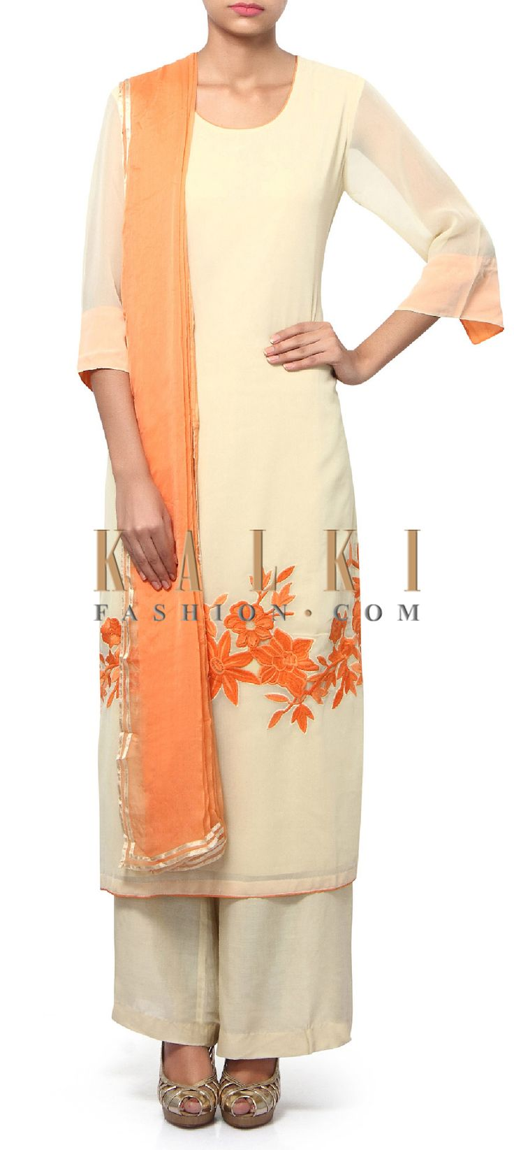 Buy Online from the link below. We ship worldwide (Free Shipping over US$100). Product SKU - 312179.Product Link - http://www.kalkifashion.com/cream-straight-suit-adorn-in-resham-embroidery-only-on-kalki-19054.html