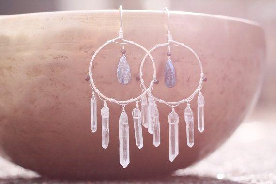 Raw Quartz Crystal Earrings. Rough Gemstone Jewelry. Hand Hammered Silver Hoop Earrings.