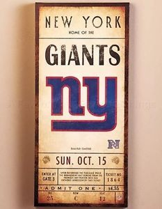 "NEW New York Giants Ticket Canvas Wall Art Wooden Frame 12"" x 26"" Classic NFL NY"