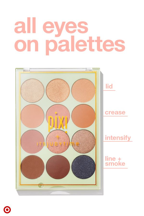 Palettes are a makeup arsenal's BFF—and an affordable way to experiment with new looks. Enter Pixi's ItsEyeTime palette with 12 silky eye shadows to mix, match and layer. Not sure where to start? Use a color from the top row for your lids, the second row for the crease, third row to intensify the crease, and bottom row to line lashes or smoke it out. Tip: Use a mix of matte and shimmer to create depth and dimension.