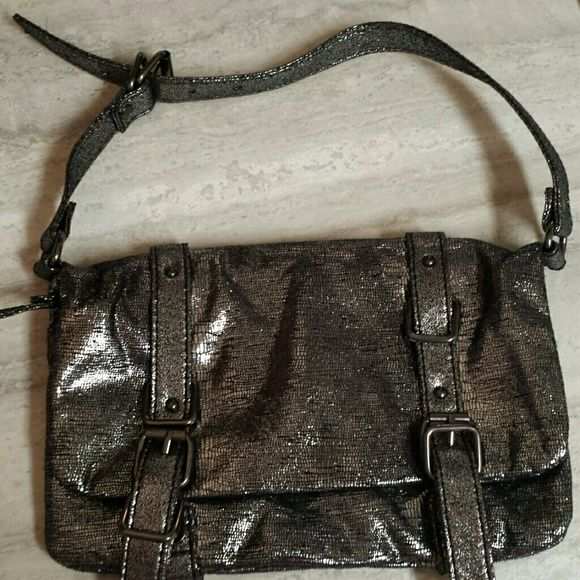 Gap handbag Metallic Gap handbag. Black/silver. Small bag with adjustable strap. Please let me know if you have any questions. GAP Bags