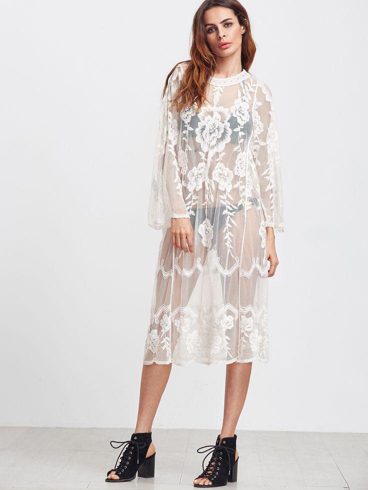 White long sleeve sheer embroidered mesh dress shein for Shein frauen mode