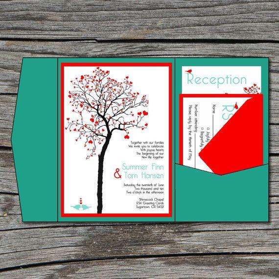 Wedding Invitation DIY Pocketfold Heart Tree by ticklemeink