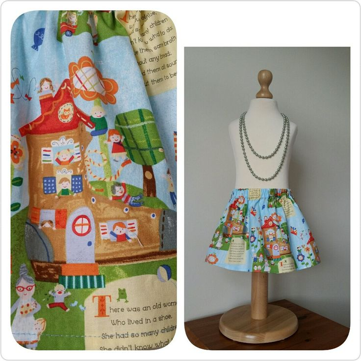 Newest listing to my shop. An old favourite nursery rhyme 'The old woman who lived in a shoe'. Perfect skirt for any little lady.