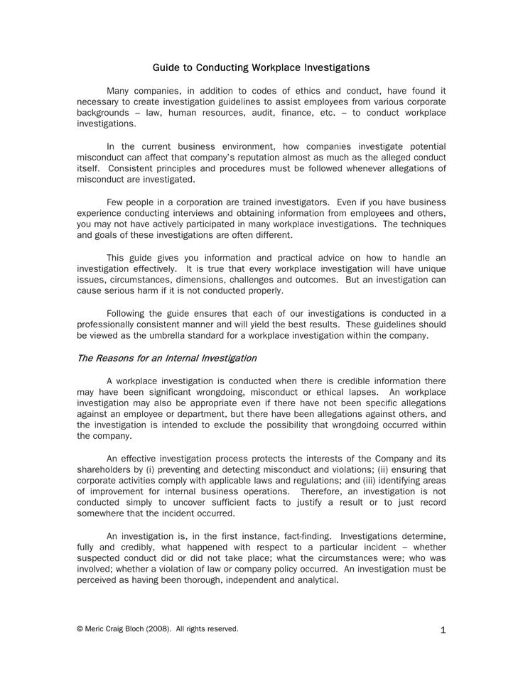 Workplace Investigation Report Examples Pdf Examples In Hr