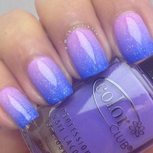 Bild über We Heart It https://weheartit.com/entry/164787462/via/30516974 #blue #manicure #nails #ombre #pink #shine