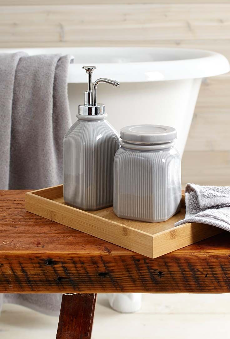 gray farmhouse bath accessories fit snugly in a bamboo vanity tray - Bathroom Accessories Vanity Tray