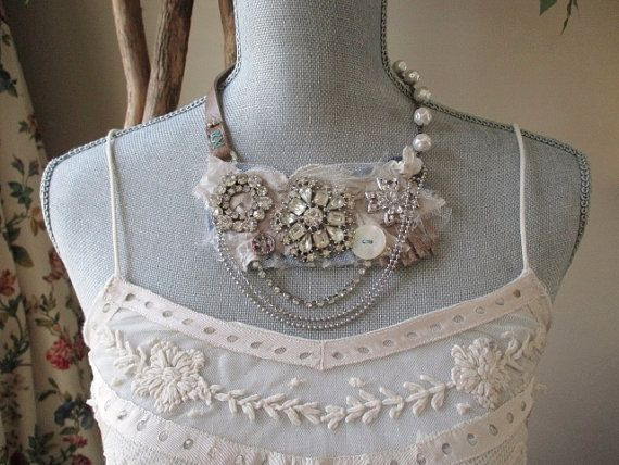Antique rhinestone necklace  Winter White  pearl by slashKnots