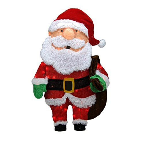 Felices Pascuas Collection 32 inch Pre-Lit Candy Cane Lane 2D Santa Claus with Bag Christmas Yard Art Decoration - Clear Lights
