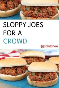Sloppy Joe Sandwiches for 100 people. These sloppy joes are tasty AND easy to make and work well made in a large batch. The recipe can be made ahead of time and reheated when ready to serve. It also freezes well. | CDKitchen.com