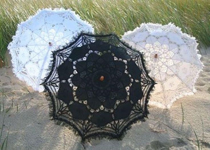 All Black Battenburg Lace Victorian Sun Parasol w/ Sheer Ruffle.Gothic, Brides  #ParasolHeaven #Parasol