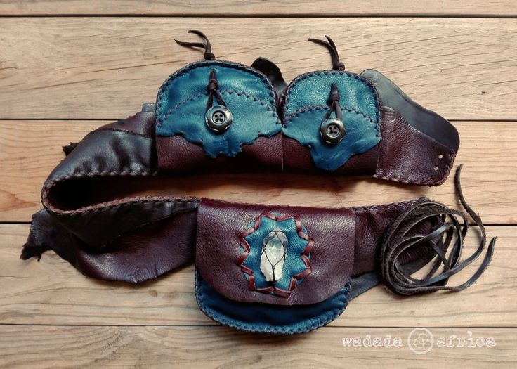 Ready to Ship // Handmade Upcycled Deerskin Leather Unisex 3 Pocket Lace-up Utility Belt with Clear Quartz Crystal Point & Wooden Buttons by WadadaAfrica on Etsy