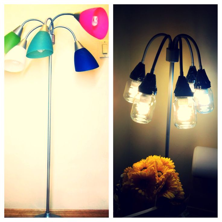 From this to that floor lamp growth childhood color to hipster teen room makeover  Mason jar floor lamp