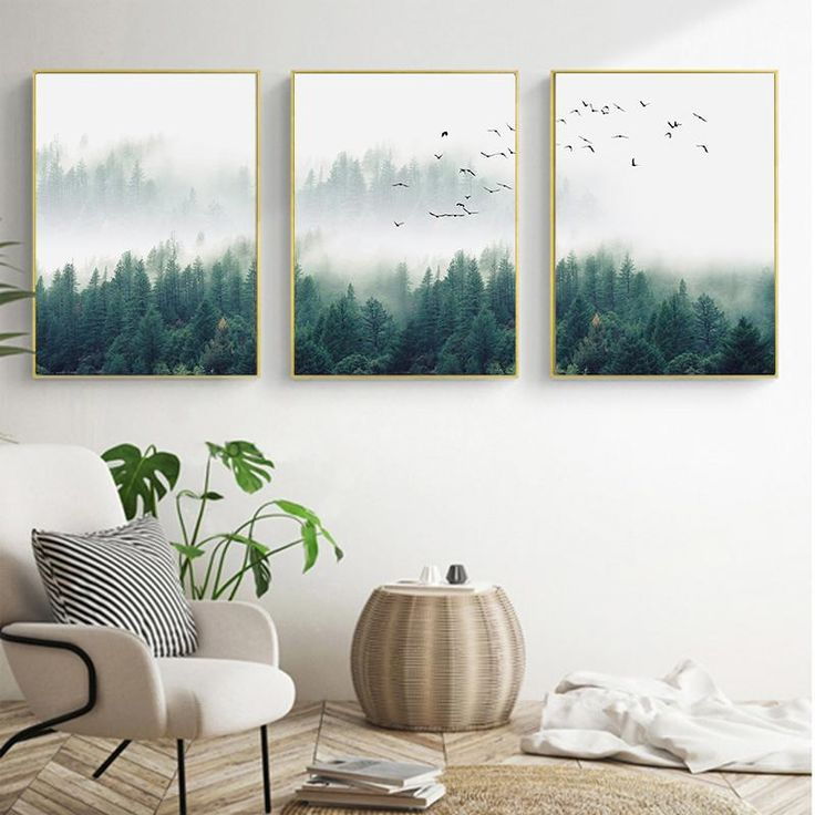 Inspirational Mystical Forest Landscape Posters Nordic Nature Canvas Wall Art Prints Paintings For Offices, Salons and Modern Home Decor – 3 Pcs