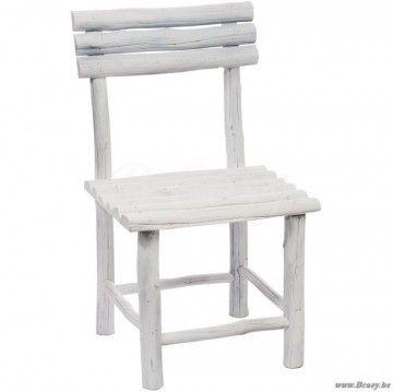 J-Line Witte houten kinder stoel in wit ruw hout 75H