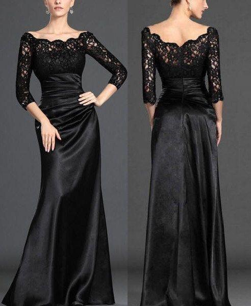 siyah saten dantel abiye modeli