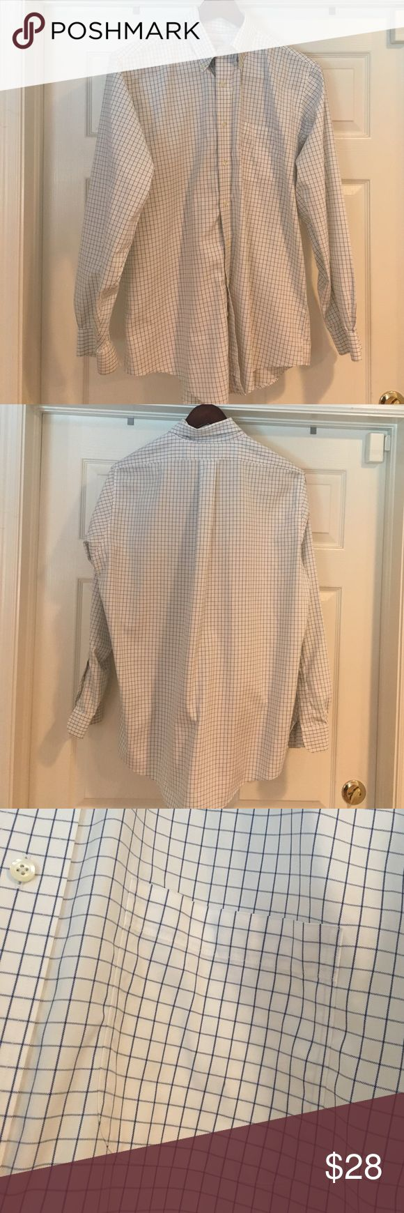 Brooks Brothers long sleeve dress shirt Brooks Brother Original Polo Shirt.  White with blue lines.  Has pocket in chest and long sleeves..  100% cotton Non-Iron.  Has button collar stays.  Size 16 34/35.  No stains or tears.  In great condition.. Brooks Brothers Shirts Dress Shirts