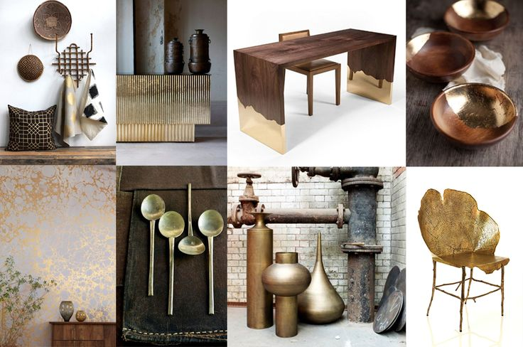 Wood, metals and gold in ethnic chic interior #gold #interior