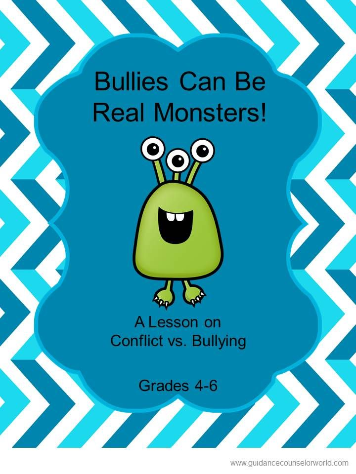 Guidance lesson on bullying, for Grades 4-6. Teach kids the difference between a conflict and a bully. NEVER create another guidance lesson again with our aligned K-6 guidance lessons! We've got more GUIDANCE LESSON Plans, all which are aligned for grades K-6! Each lesson plan has a Word doc for each grade level and a PDF that includes all interactive activities and printables. Bullying | Anti-bullying | Conflict Resolution | Elementary Guidance Lessons