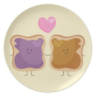 Peanut Butter and Jelly Love Plate => http://www.zazzle.com/peanut ...