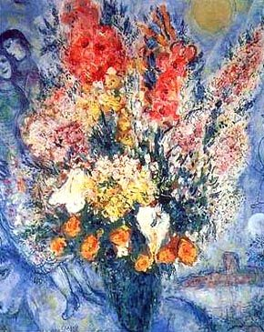 Chagall Marc Oil Paintings | Marc Chagall - Bouquet de Fleurs - Reproduction Oil Paintings