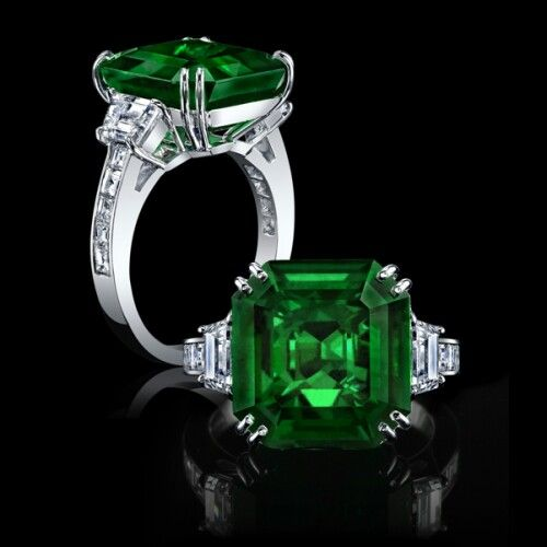 Octagonal emerald and diamond platinum ring - look at the facets of the emerald