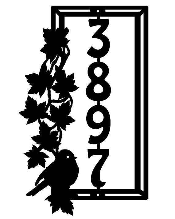 Bird And Leaves Metal Address Sign Metal House Number Sign
